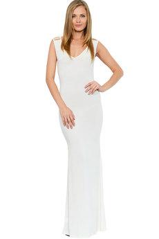 Длинное вечернее белое платье Mondigo