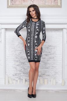 Черное платье с орнаментом Angela Ricci