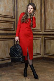 Красное платье с разрезом Mondigo